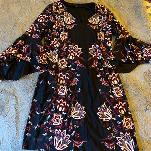 MSK Black and Floral Dress with Bell Sleeves